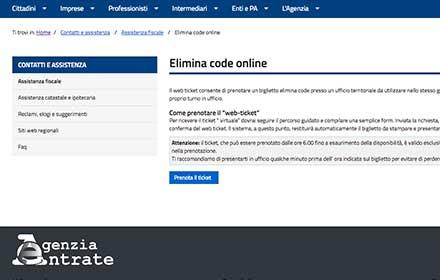 elimina code agenzia delle entrate